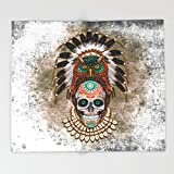 Society6 indian native Owl sugar Skull iPhone 4 4s 5 5c 6 7, ipod, ipad, pillow case Throw Blankets 88'' x 104'' Blanket