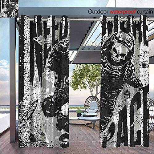 DESPKON Facial Blend Fabric high Density Skull in Spaceman Suit Over Grunge Background Dead Spooky Halloween Theme Shading for Outdoor W120 x L84 INCH ()