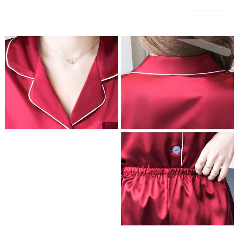 KINLOU Pijamas Mujer Primavera oto/ño Manga Larga Invierno Conjuntos de Pijama 2 Piezas de Ropa de Dormir Pijamas Suelto Sat/én C/ómodo Tallas Grandes