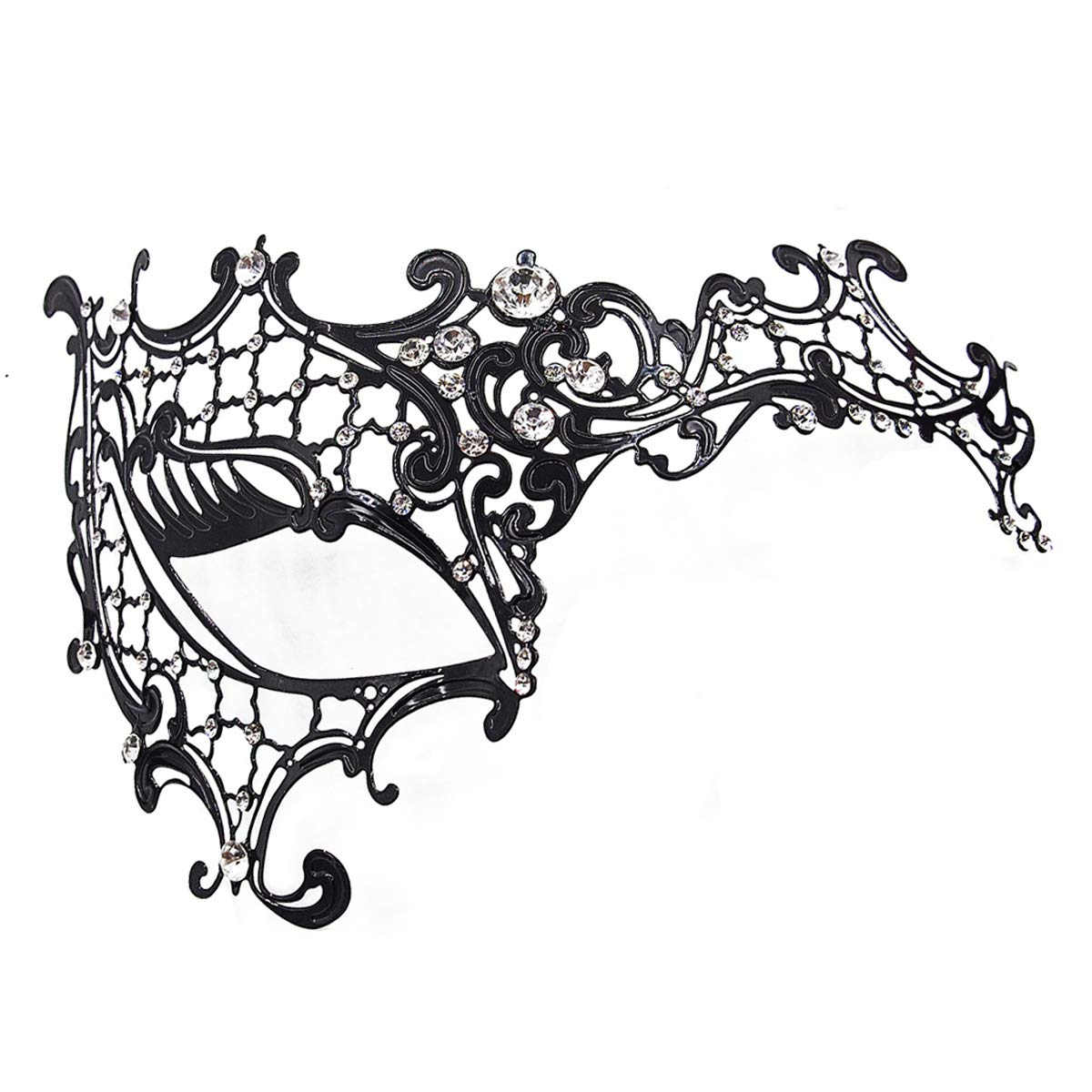 Masquerade Mask for Women 2 Pack Shiny Metal Rhinestone Mask Party Porm Ball Mask Free Lace Mask Costume