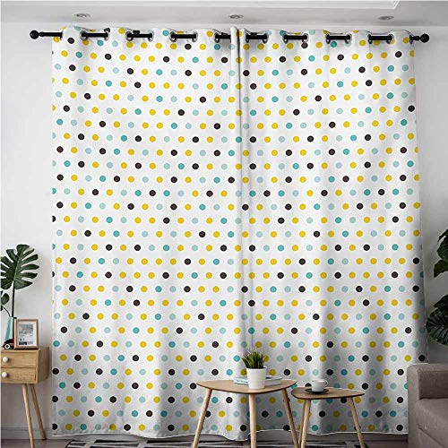 AndyTours Window Curtain,Kitchen,Polka Dots Rounds Vintage Retro 58s 50s Themed Image,Curtains for Living Room,W84x96L,Brown Mint Green Pale Blue and Marigold