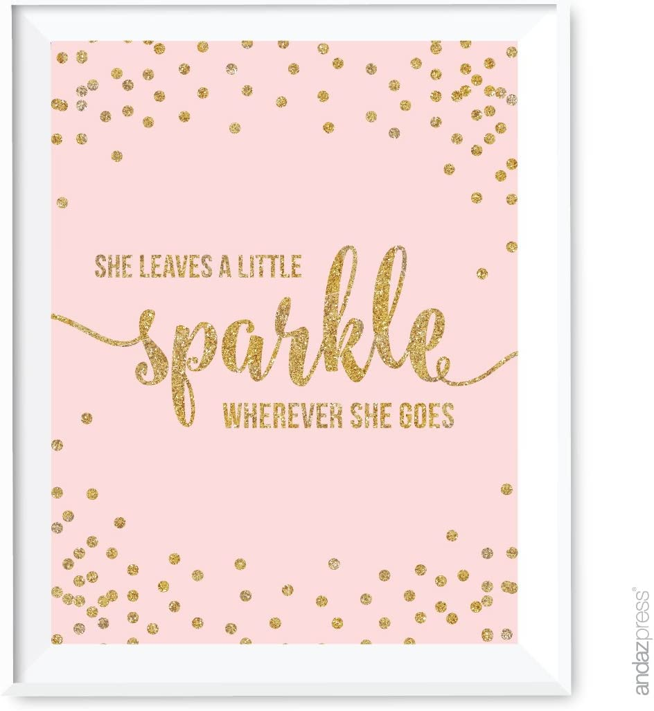Andaz Press Blush Pink Gold Glitter Girl's 1st Birthday Party Collection, Wall Art Gift, 8.5x11-inch, She Leaves a Little Sparkle Wherever She Goes, 1-Pack, Unframed