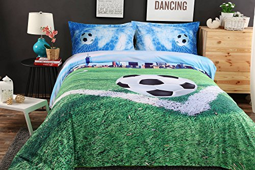 Alicemall Kids Football Bedding 3D Soccer Field and City Scenery Duvet Cover Set 4 Pieces Cotton and Tencel Blended Super Soft Cool Sports Bedding Set, King Size Football Sheets Set (King, Light Blue) by Alicemall (Image #2)