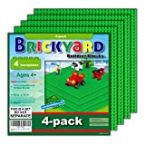 Brickyard Building Blocks 4 Green Baseplates, Improved Design 10 x 10 Inches Large Thick Base Plates for Building Bricks, for Activity Table or Displaying Compatible Construction Toys (4-Pack, Green)