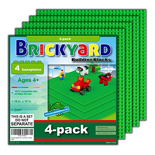 Brickyard Building Blocks [Improved Design] 4 Green Baseplates, 10 x 10 Large Thick Base Plates for Building Bricks, for Activity Table or Displaying Compatible Construction Toys (4-Pack, Green) ()
