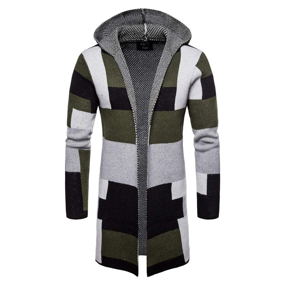 Faionny Mens Knitsweater Hooded Jacket Long Patchwork Cardigan Coat Knit Coat Long Sleeve Trench Coat Winter Outwear