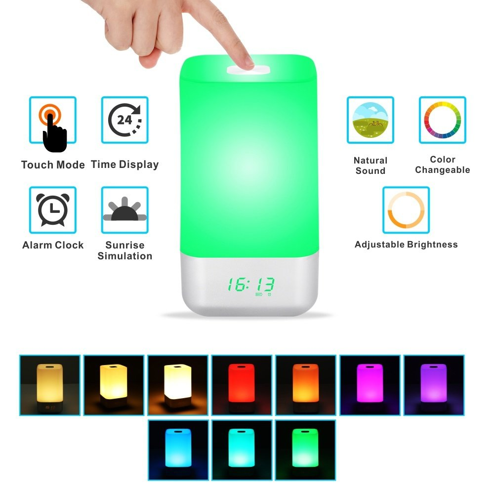 TINGAU Wake Up Light Touch Control Color Change RGB LED Night Light for Bedroom Sunrise Simulation Alarm Clock Portable Dimmable Bedside Lamp with 5 Nature Sounds USB Rechargeable
