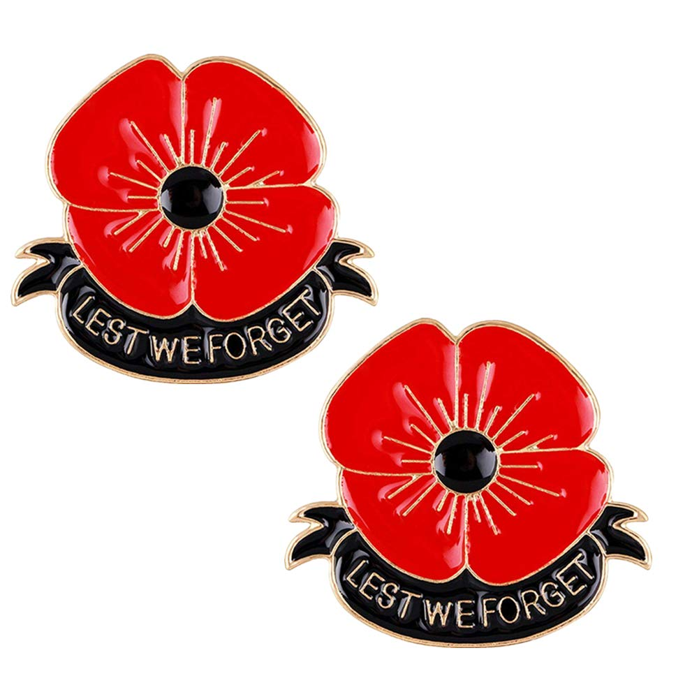 Poppy Brooch Pin Lest We Forget Remember Memorial Day Gifts 2 PCS SEALEN
