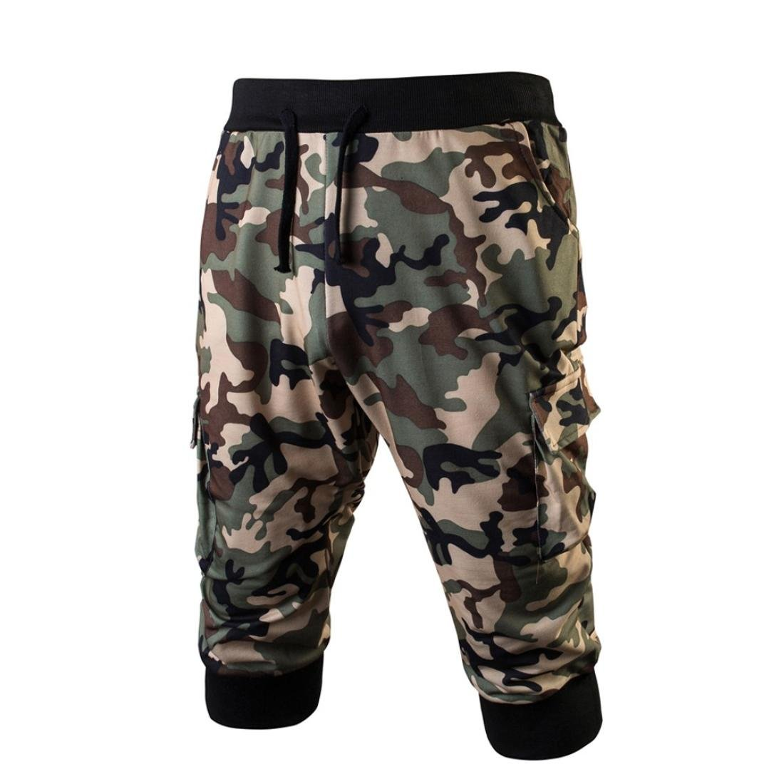 Realdo Mens Casual Camouflage Trousers, Daily Elastic Stretchy Bodybuilding Sweatpants Camo Sport Gym Fitness Jogging(Green,Large)