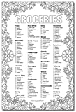 Adult Coloring Magnetic Grocery List 6 x 9 Inches 50 Sheets Flowers Notepad