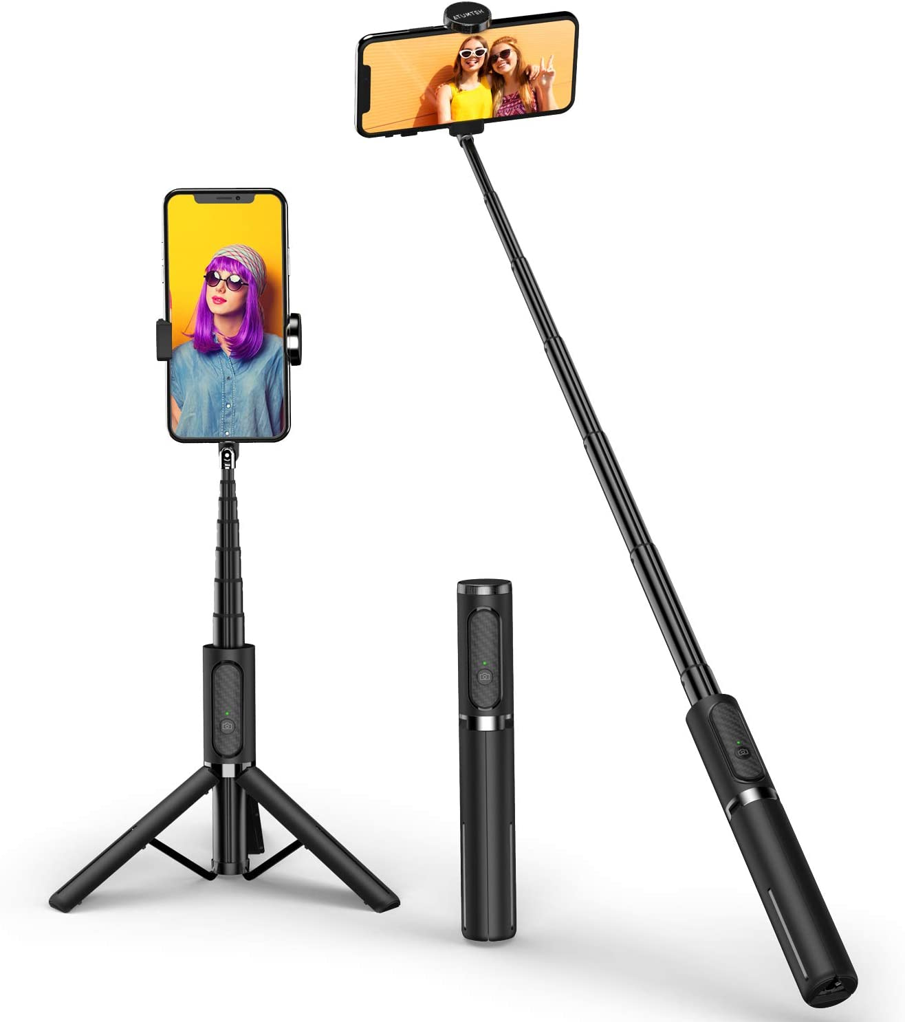 ATUMTEK Bluetooth Selfie Stick Tripod, Mini Extendable 3 in 1 Aluminum Selfie Stick with Wireless Remote and Tripod Stand 270 Rotation for iPhone 11/11 Pro/XS Max/XS/XR/X/8/7, Samsung and Smartphone