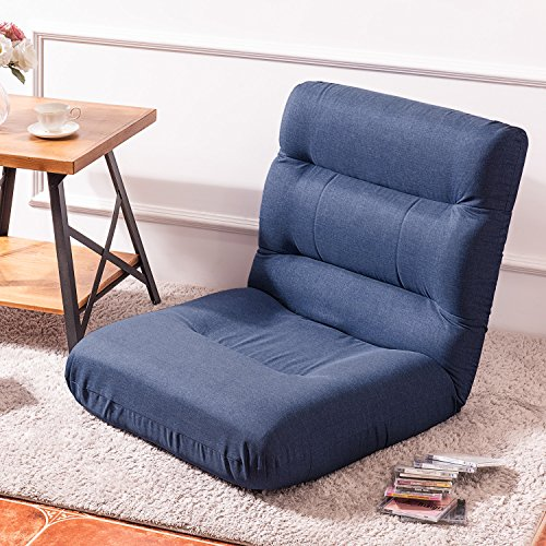 Merax Fabric Folding Sofa Chair Floor Chaise Lounge Gaming Chair (Navy) ()