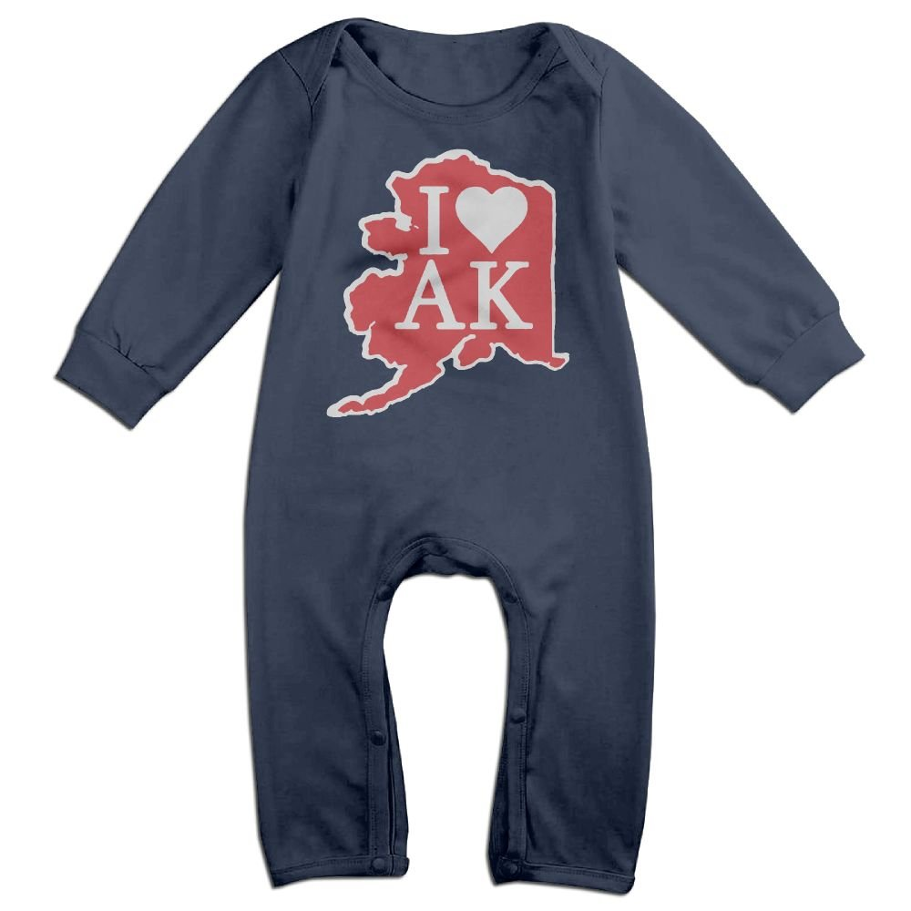 Baby Boy Girl Jumpsuit I Love Alaska Kid Pajamas