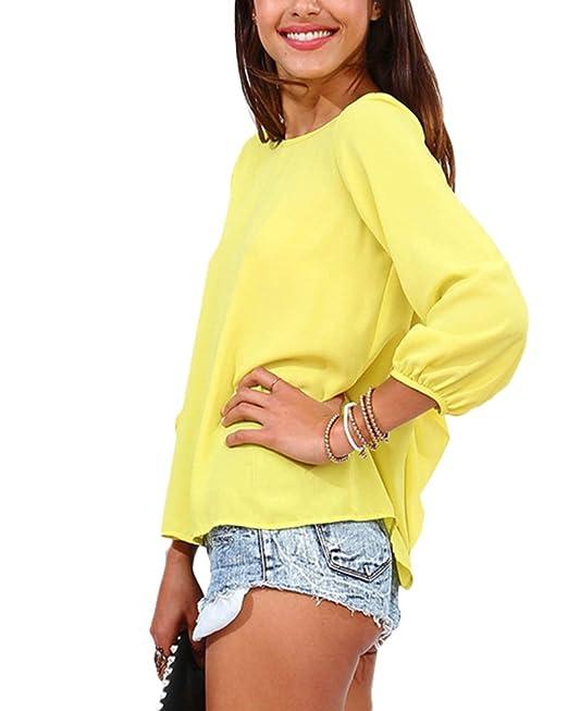 Qitun Mujer Tamaño Grande Borla Color Sólido Bowknot Gasa Tops Camiseta Casual Blusa Amarillo L