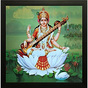 Saraswati UV Textured Framed Painting 12 Inch X 12 Inch