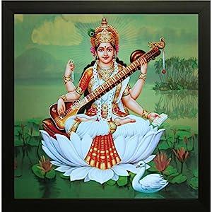 SAF Saraswati UV Textured Framed Painting 12 Inch X 12 Inch SANFA3623