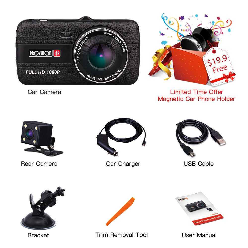 Full HD 1080p Dash Cam Model PR-2400CDV PROVISION ISR Dual Dash Cam Front and Rear with WDR Night Vision by Provision-ISR for Rideshare Drivers