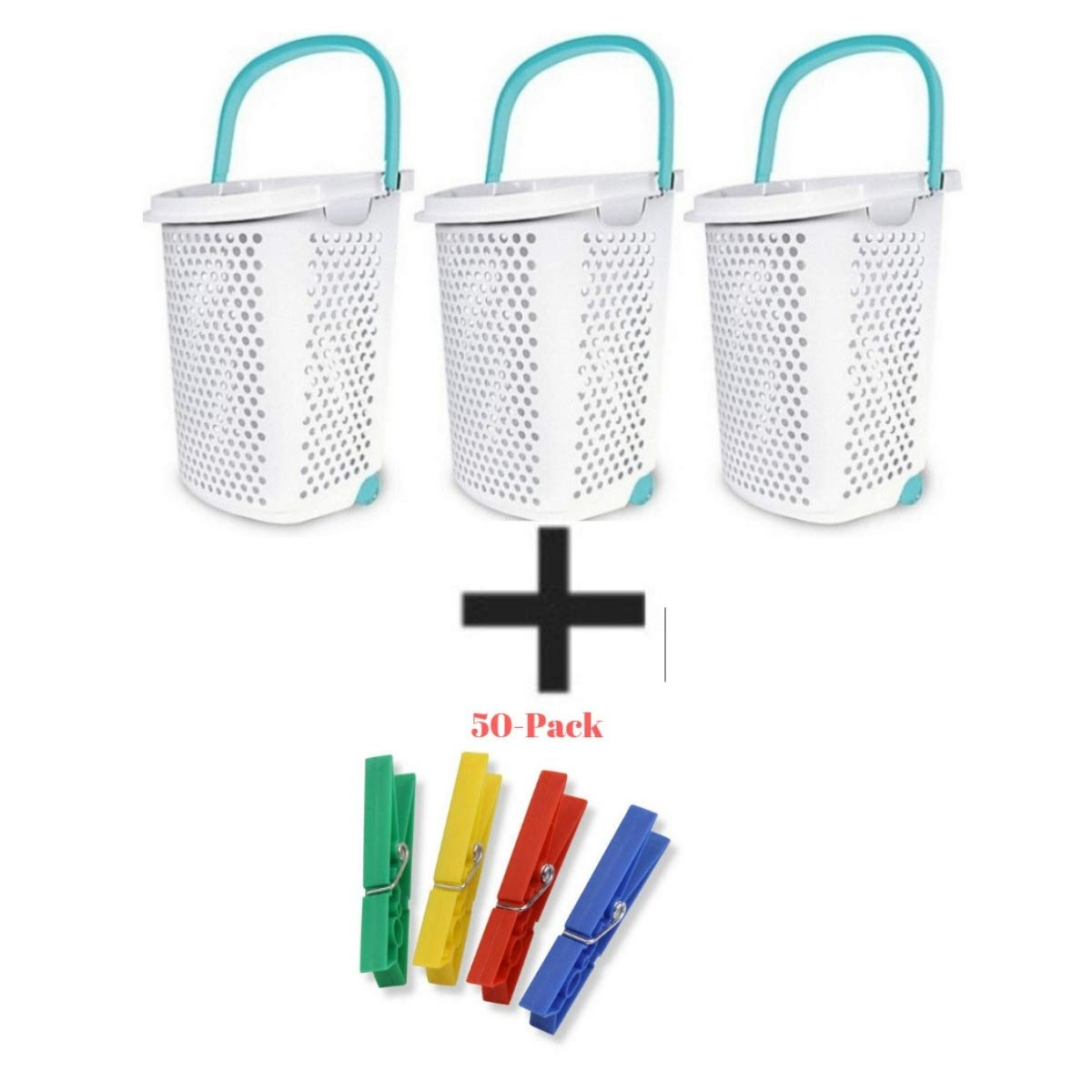 Home Logic Pack of 3 2.0-Bu. Rolling Laundry Hamper Container Bin Storage in White Features Pop-Up Handle, Hole Pattern for Ventilation, Built-in Wheels to Maneuver by Home Logic