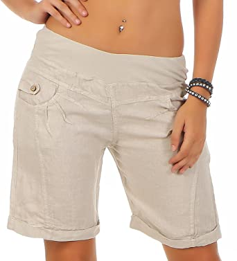 16ca6bc5d044ac Malito Shorts de Toile de Lin Pantalon Hotpants 3001 Femme: Amazon ...