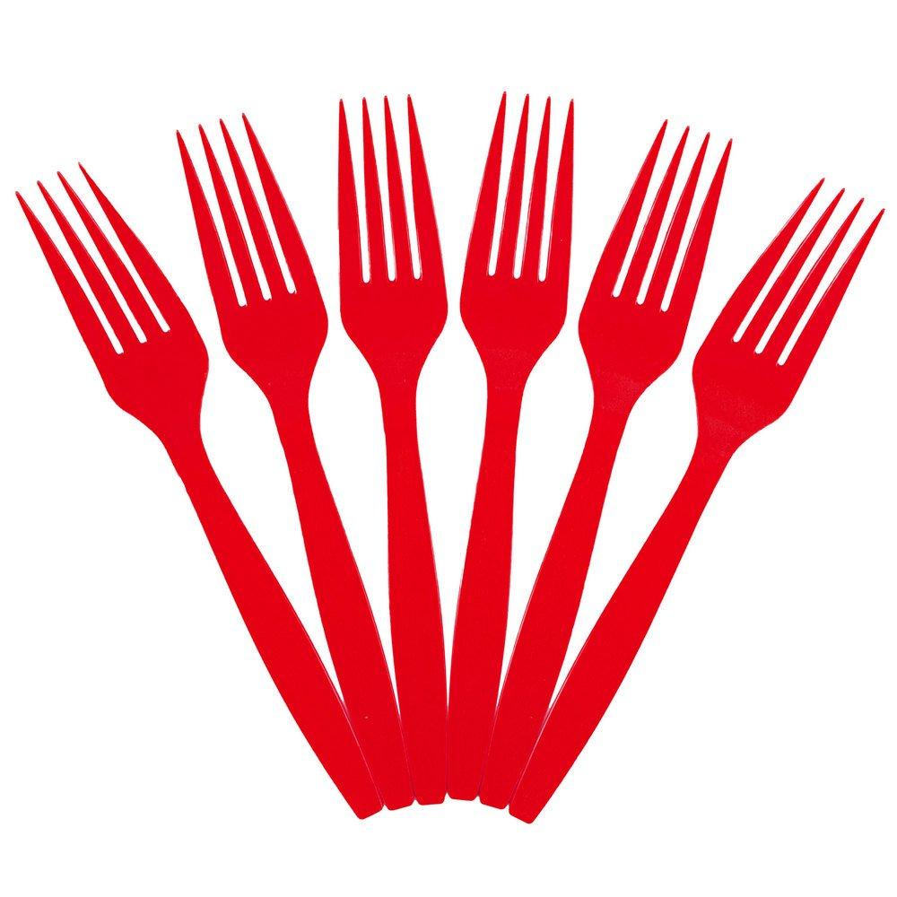 JAM Paper Big Party Pack of Premium Utensils - Plastic Forks - Red - 100 Disposable Forks/Box