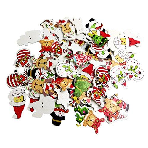 Jili Online 100 Pieces Mixed Christmas Tree Elk Snowman Santa Claus 2 Holes Wood Wooden Buttons Embellishments DIY Card (Card Craft Embellishments)