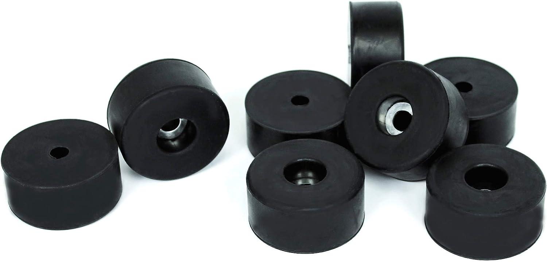 TCH Hardware 8 Pack Medium Black Rubber Non Slip Feet Pads with Steel Insert - Case Amplifier Cabinet Speaker