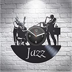 Jazz Saxophone Music Fans Gift For Musician Boyfriend Girlfriend Wall Art, New Handmade Vinyl Wall Clock Decor, Office Decoration For Room Inspirational, Best Present Silent Mechanism, Vinyl Record