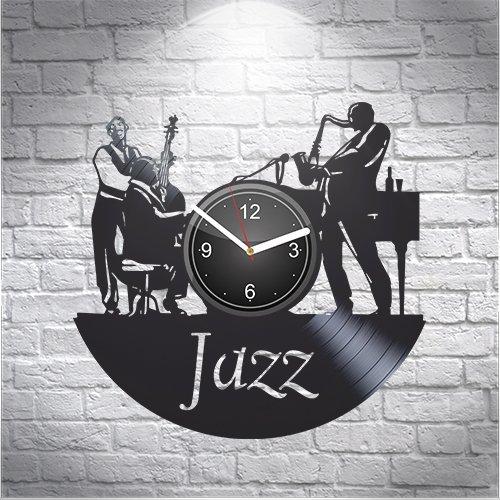 (Jazz Saxophone Music Fans Gift For Musician Boyfriend Girlfriend Wall Art, New Handmade Vinyl Wall Clock Decor, Office Decoration For Room Inspirational, Best Present Silent Mechanism, Vinyl Record)