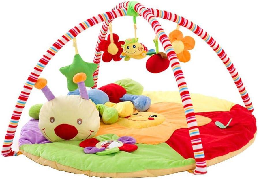 Haodene Alfombra de Actividades para Bebes - Gimnasio Manta de Juegos Acolchada Bebes con Caterpillar Doll