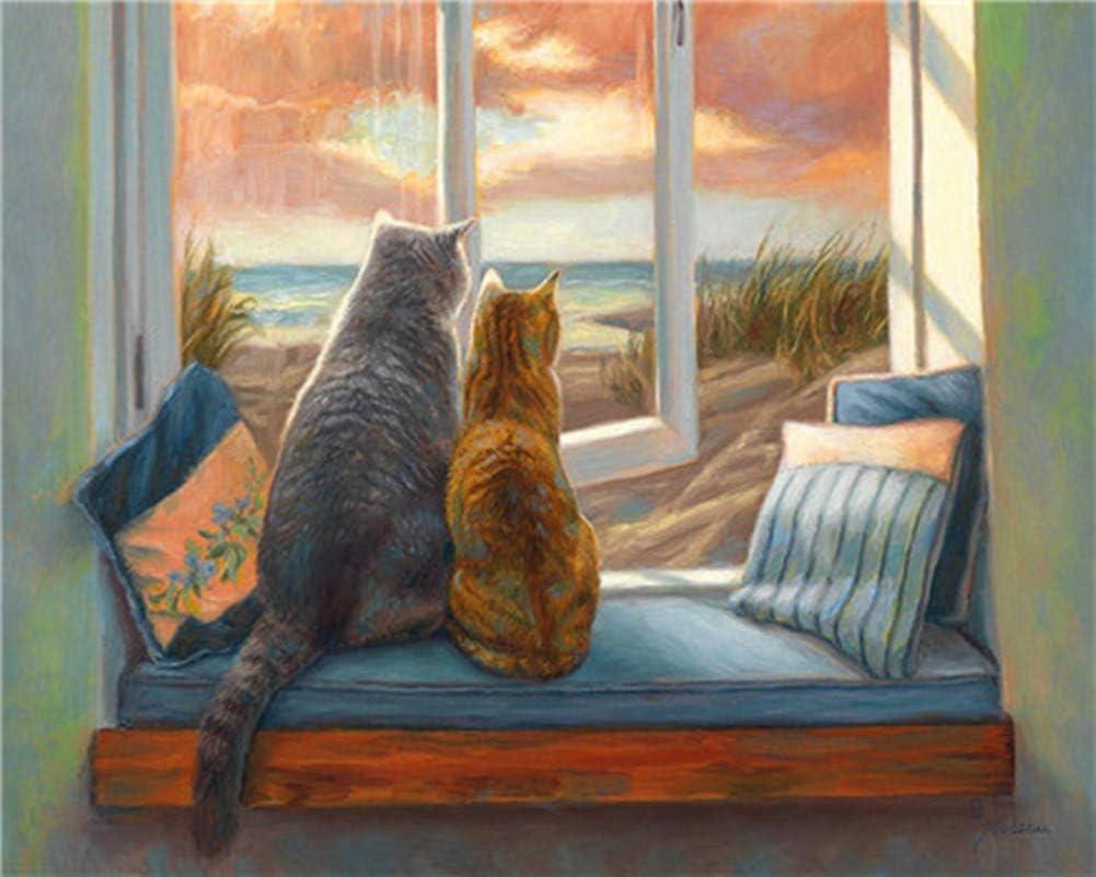 WOWDECOR DIY pintar por números para adultos, niños, niñas, gatos, animales, piano, flores, 40 x 50 cm, preimpreso, lienzo de pintura al óleo (gato, sin marco)