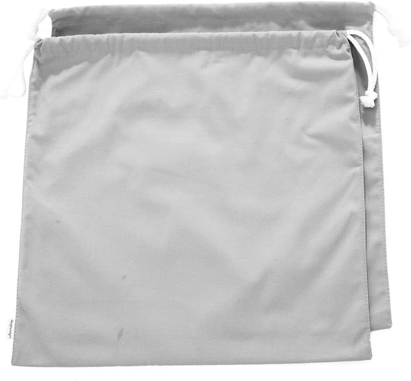 Augbunny 100% Cotton Canvas Travel Laundry Bag, 2-Pack (Small, Light Grey)