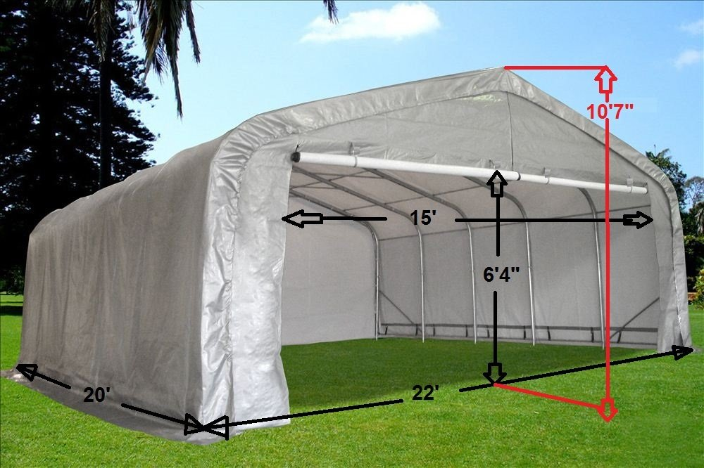Amazon.com 20u0027x22u0027 Carport Grey/White - Waterproof Storage Canopy Shed Car Truck Boat Garage - By DELTA Canopies Garden u0026 Outdoor : boat carport canopy - memphite.com