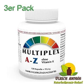 Pack de 3 Complejo Multivitaminico A-Z sin Vitamina K, 3x 120 Cápsulas Multivitaminas Multiplex Made