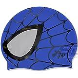 Blue Spiderman Swimming Silicone Swim Head Cap