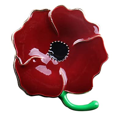 Amazon love dream deep red large poppy flower brooch lapel love dream deep red large poppy flower brooch lapel badge pin gold brooch for women mightylinksfo
