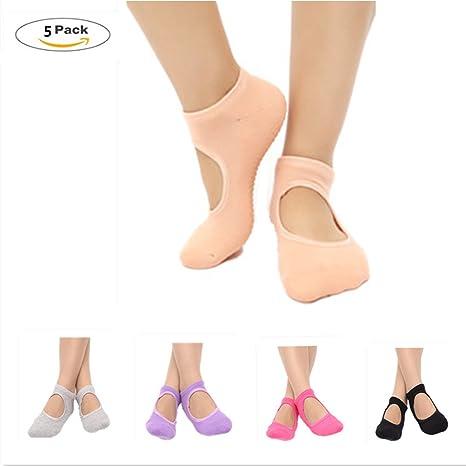 ZNME66 5 Pares de Calcetines Antideslizantes de algodón para Yoga, Pilates para Mujer danzas Tobilleros