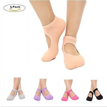 ZNME66 5 Pares de Calcetines Antideslizantes de algodón para Yoga, Pilates para Mujer danzas Tobilleros de Colores Original para Mujeres: Amazon.es: ...