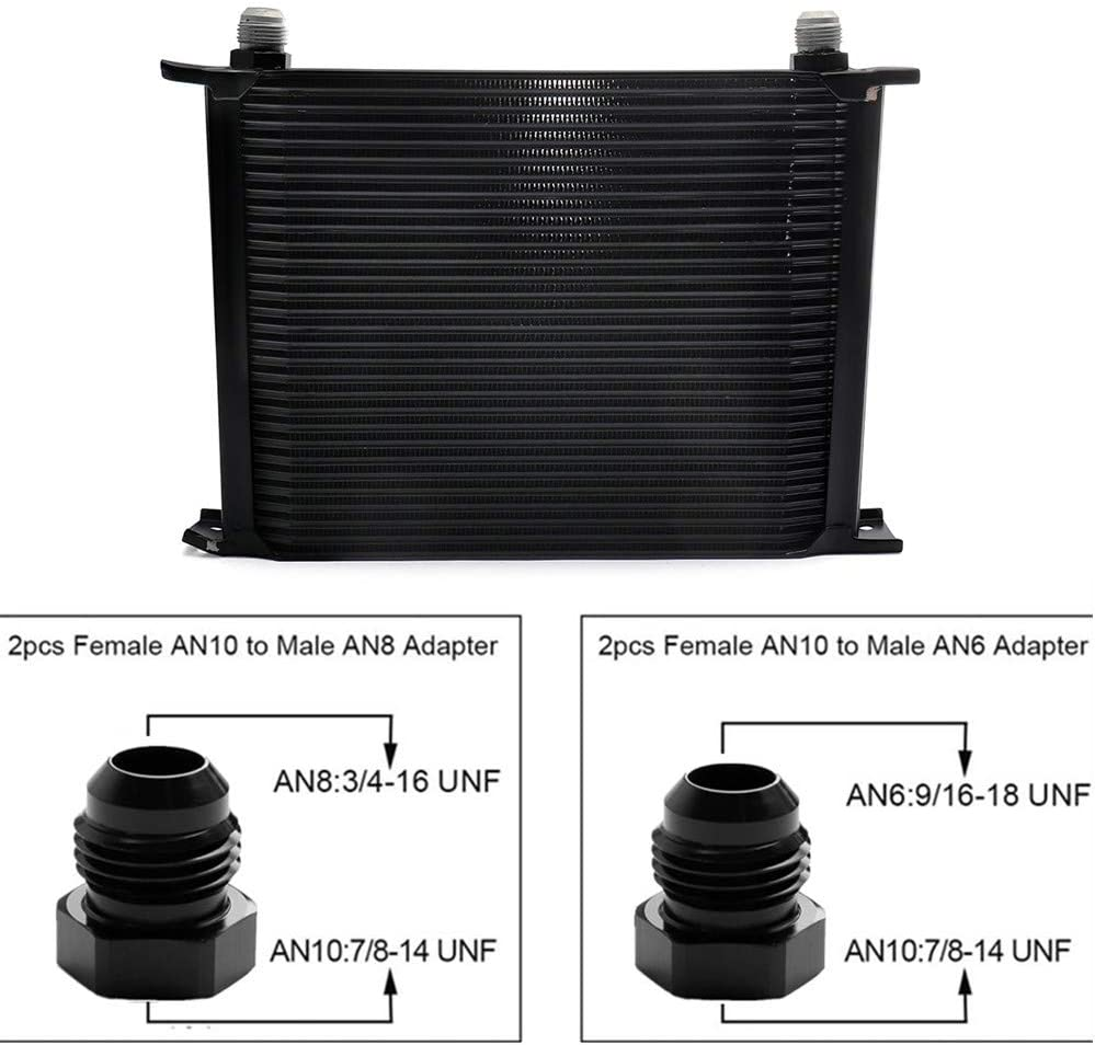 MotorFansClub Fit For Compatible With 30 Row AN10-10AN Stacked Plate 6AN 8AN Adapter Universal Aluminium Alloy Black