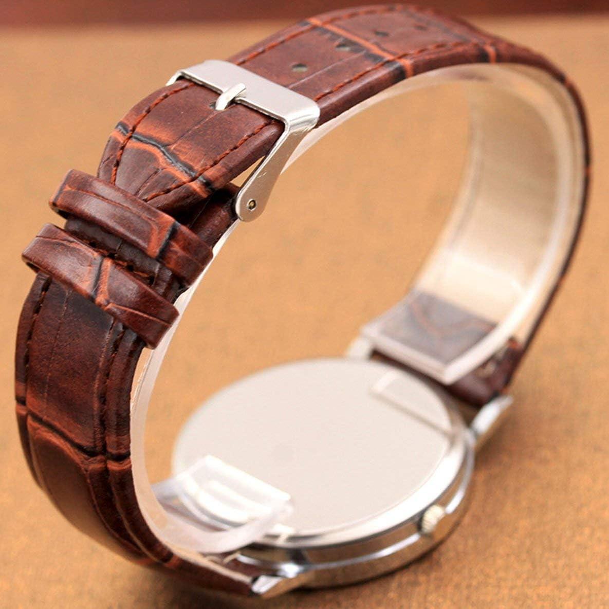 Rouku Mode Hommes en Acier Inoxydable Montre-Bracelet Montre Bracelet Rond en Cuir Bracelet Hommes Montres Quartz Montre Quartz Horloge
