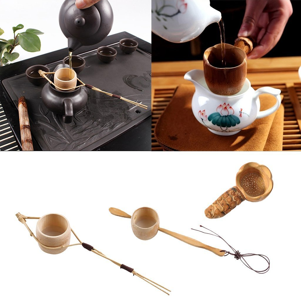 SGerste Long Handle Bamboo Tea Filter Strainer Chinese Tea Ceremony Kung Fu Tea Tool 3 Styles Available as described #1