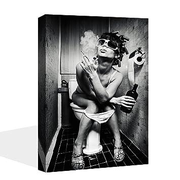 VIIVEI Moderne Noir Blanc Sexy Charmant Femme Beauté Peinture sur Toile  d\u0027impression WC Pub