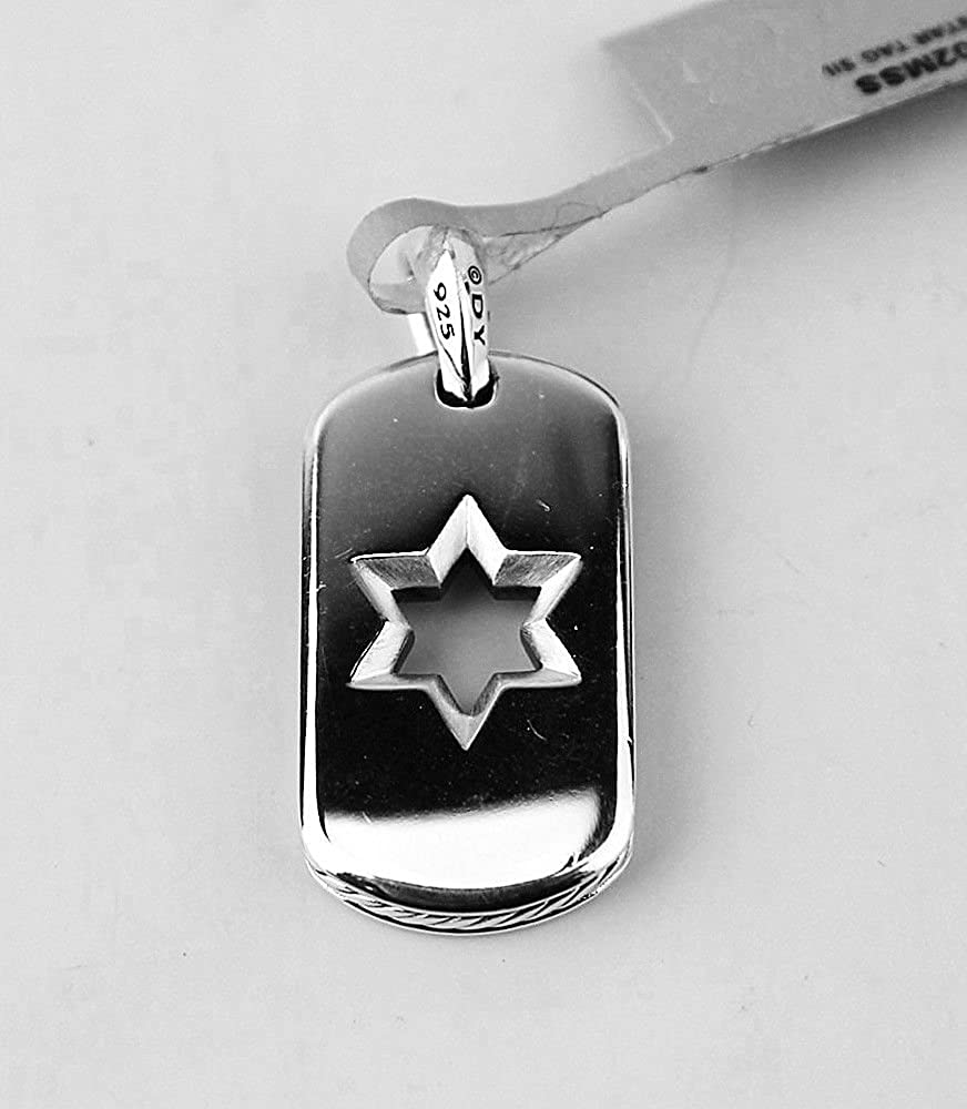 David Yurman Sterling Silver 27 mm Star of David Dog TAG Enhancer 27P New Box