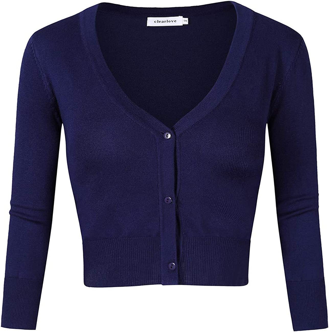 Clearlove Womens Cardigans 3//4 Sleeve Knitted Cropped Cardigan with Three Buttons