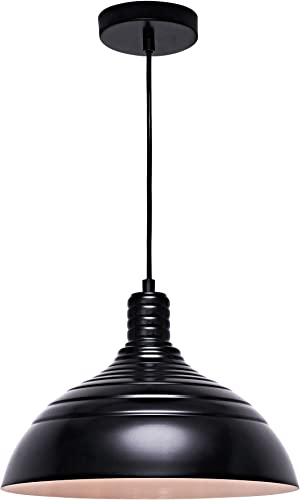 MOTINI Barn Pendant Light 1-Light Height-Adjustable Edison Hanging Light Fixture with Metal Dome Shade Farmhouse Style Ceiling Light Fixture in Black Finish for Kitchen Island, Dining Room, Foyer UL