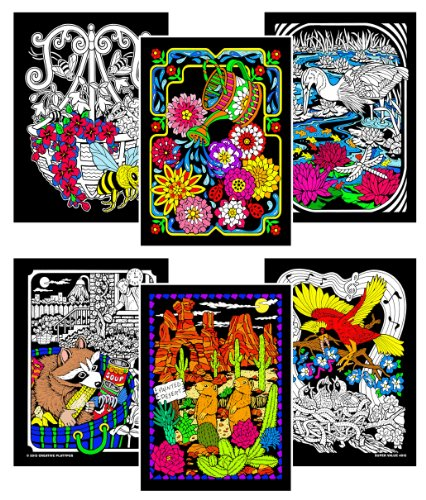 Stuff2Color Fuzzy Velvet Coloring Posters (6 Pack) - Flowers, Raccoon,  Bee,Prairie Dogs, Birds & More (Hours Of Coloring For Kids & Adults!)- Buy  Online In Aruba At Aruba.desertcart.com. ProductId : 76396830.