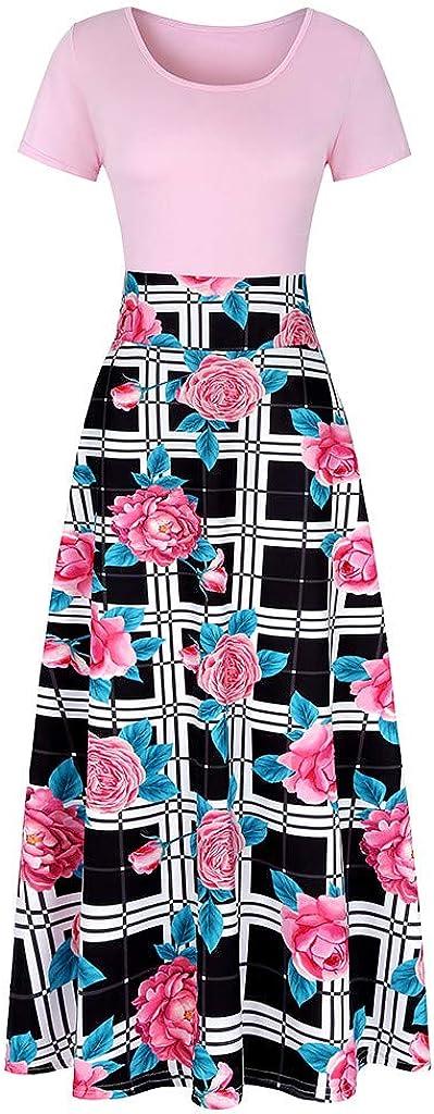 Chaofanjiancai Bohemian Printed Sleeveless Casual Long Dress Beach Tank Dress with Pockets Maxi Dress for Women