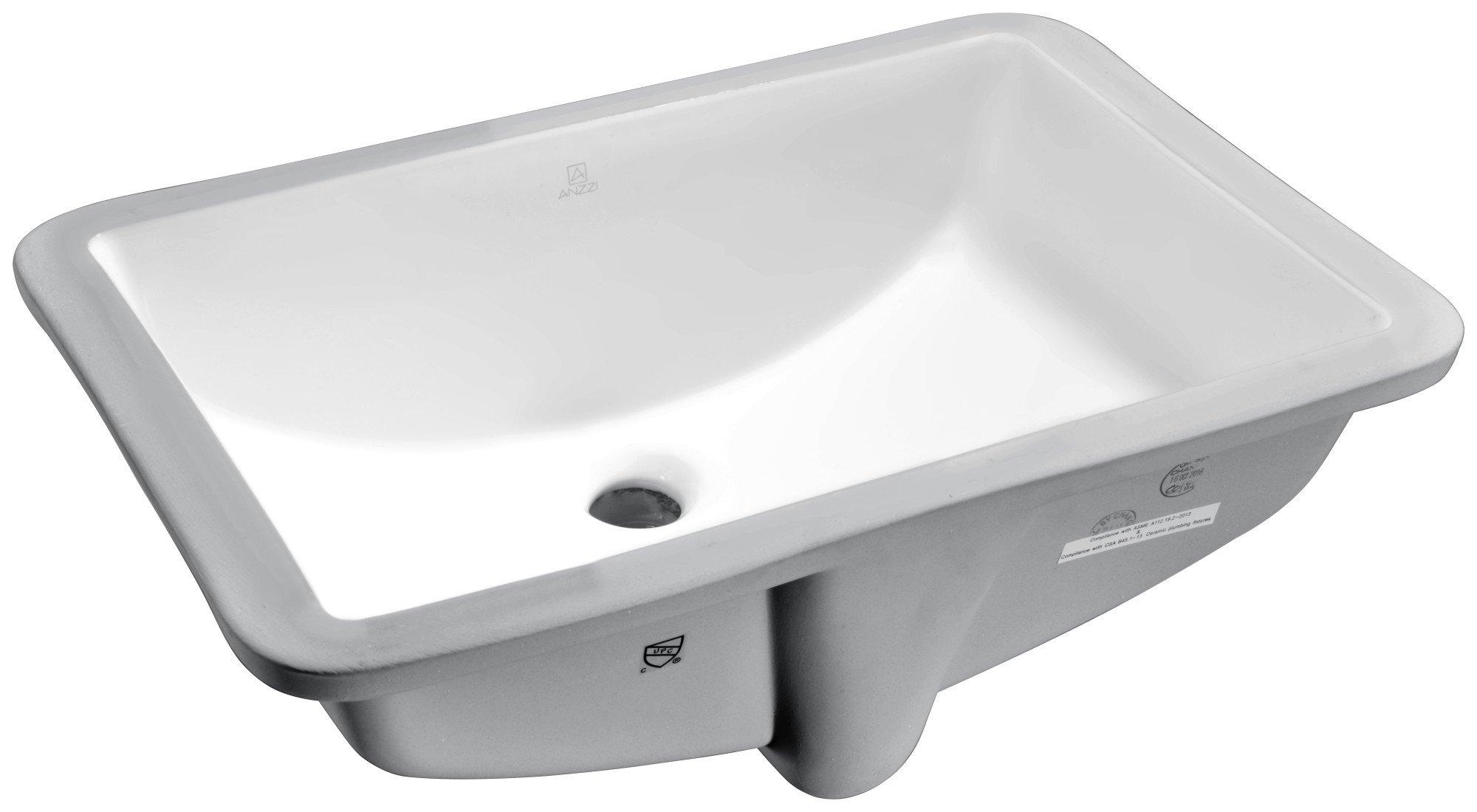 21'' Ceramic Undermount Sink - Glossy White - Pegasus Series LS-AZ107 - ANZZI