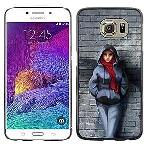 TECHCASE**Cubierta de la caja de protección la piel dura para el ** Samsung Galaxy S6 SM-G920 ** Brick Wall Scarf Winter Outfit City Style Girl