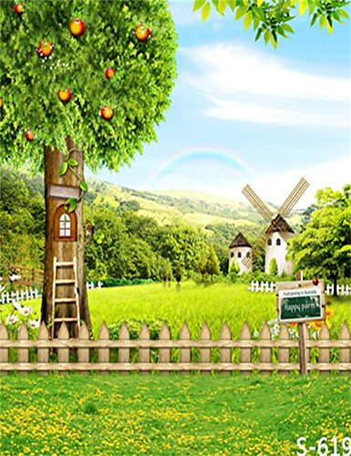 generic-rainbow-sky-windmill-tower-green-hills-fruits-tree-house-fence-custom-photo-backgrounds-stud