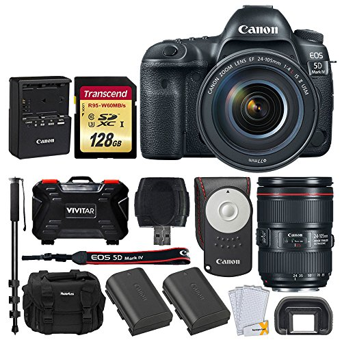 (Canon EOS 5D Mark IV DSLR Camera + EF 24-105mm f/4L is II USM Lens + Transcend 128GB SDXC Memory Card + Canon RC-6 Wireless Remote + Canon Battery Pack LP-E6N + DC59 Gadget Bag + Accessories)